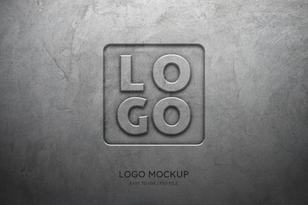 Logo mockup on the concrete wall