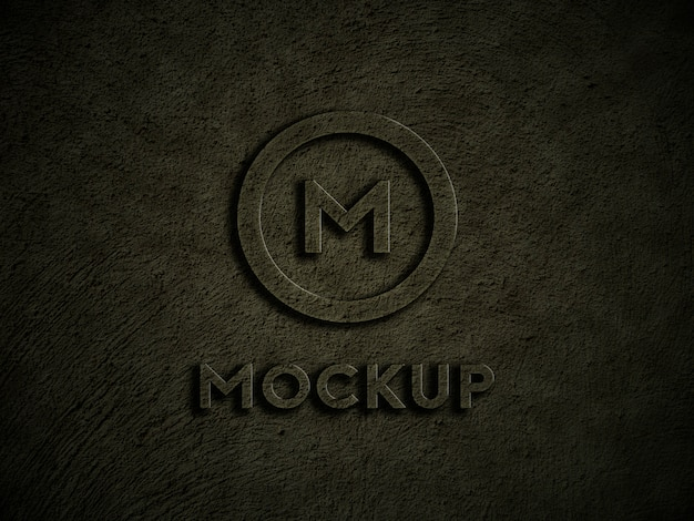 Logo mockup on dark rustic wall