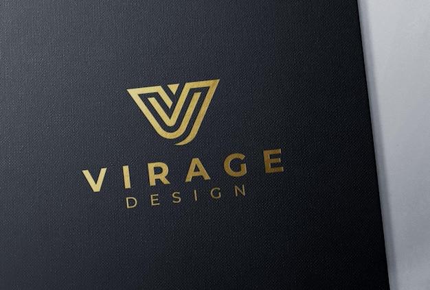 Logo mockup debossed foil stamping gold logo