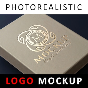 Logo mockup - debossed gold foil stamping logo on kraft box