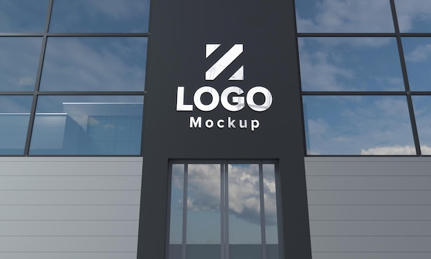Logo mockup design building closeup 3d rendered