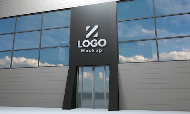 Logo mockup design building side view 3d rendered
