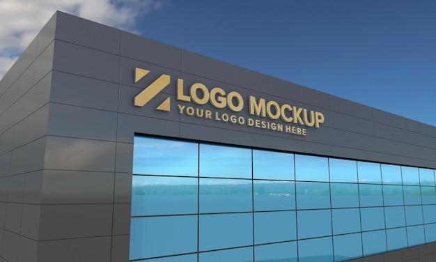 ロゴモックアップデザイン建物の側面図3dレンダリング