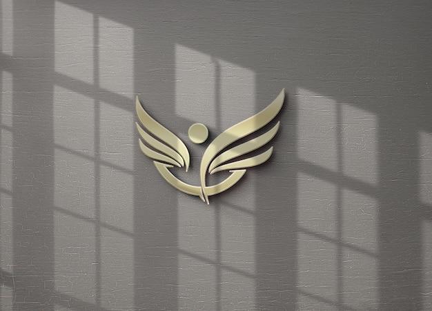 벽에 고립 된 로고 모형 디자인