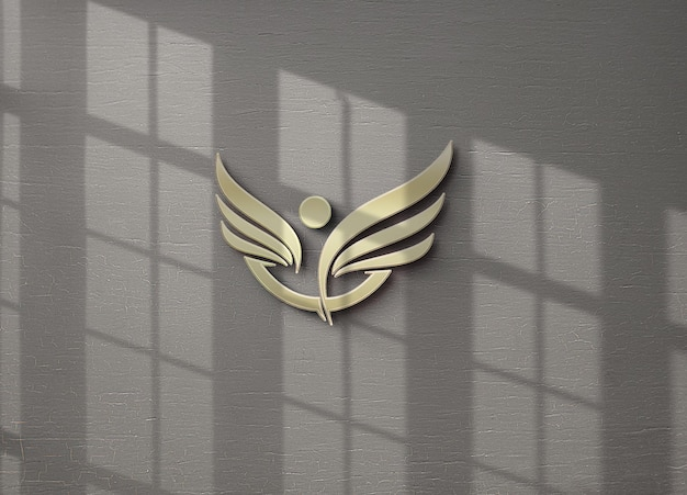 Logo mockup design isolated in wall