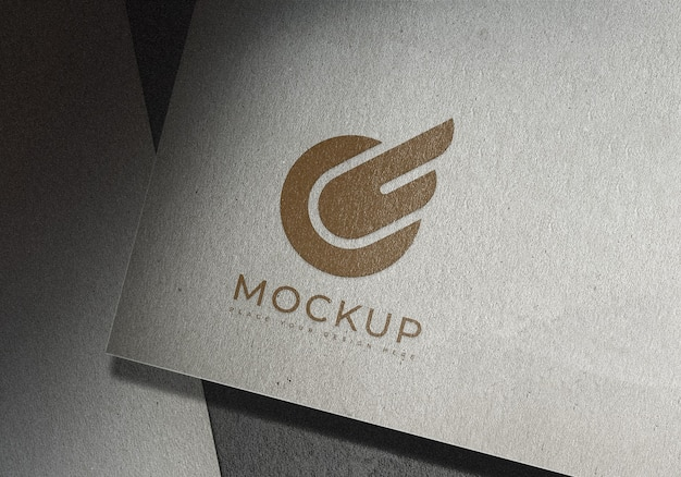 Logo mockup design template on texture surface