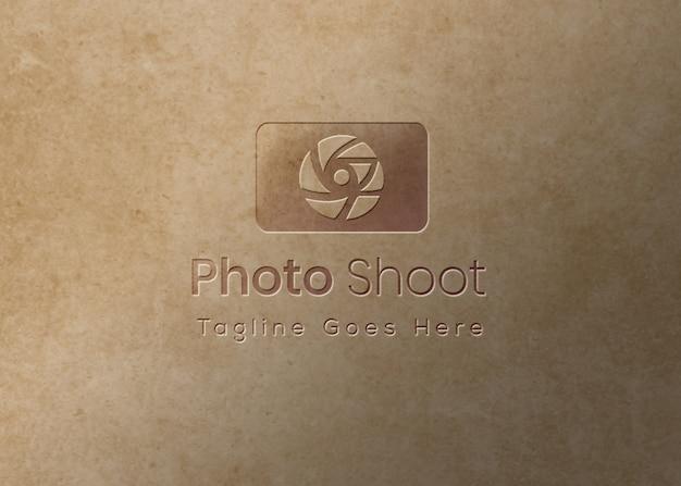Logo mockup embossed effect overtexture background