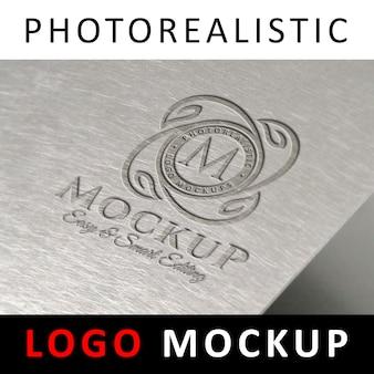 Logo mockup - embossed logo on metallic surface