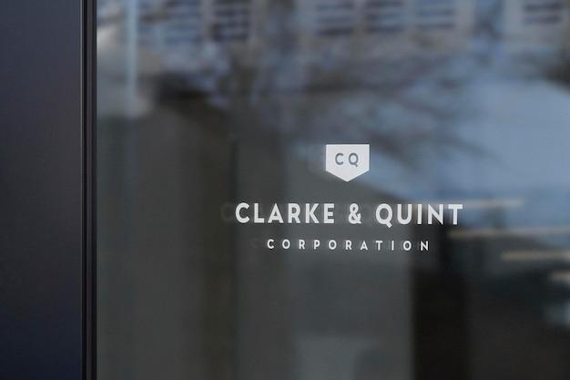 Логотип mockup enterprise office window sign