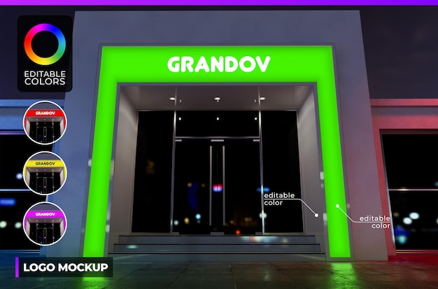 Logo mockup on facade modern building shop or office with acrylic lighted render