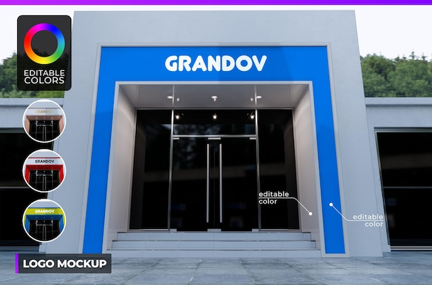 Logo mockup on facade modern building shop or office with daylight