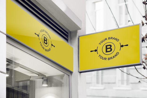 Logo mockup on facade or storefront