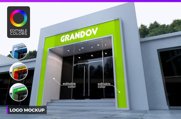 Logo mockup on font building of small company or shop day light