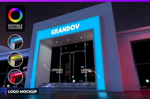 Logo mockup on font building of small company or shop with acrylic lighted render