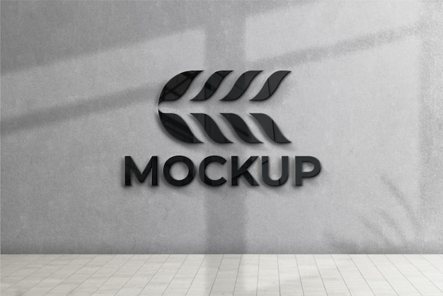 Logo mockup front 3d wall with black effect