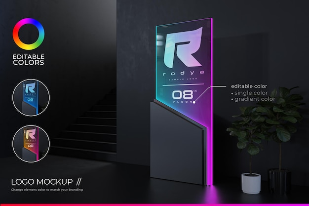Logo mockup at front office with futuristic and elegant style and editable gradient color