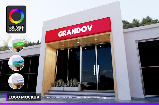 Logo mockup front store or small office with day light