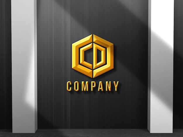 Logo mockup gold effect 3d with  business background