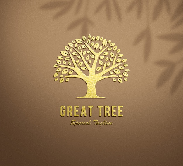 Logo mockup gold embossed