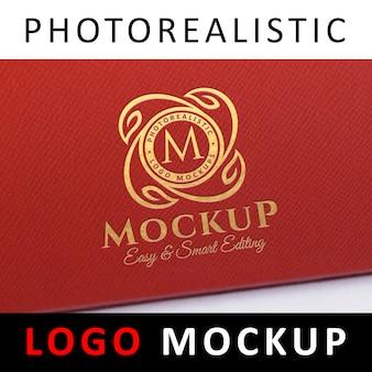 Logo mockup - gold foil stamping logo on red textured leatherette