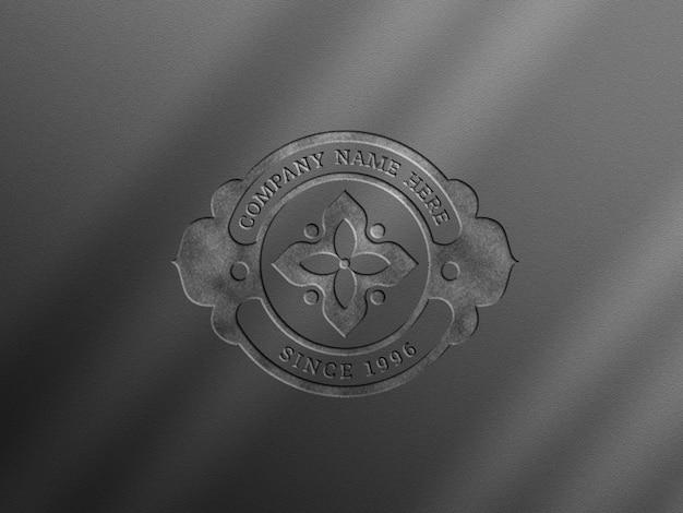 Logo mockup on gray color wall