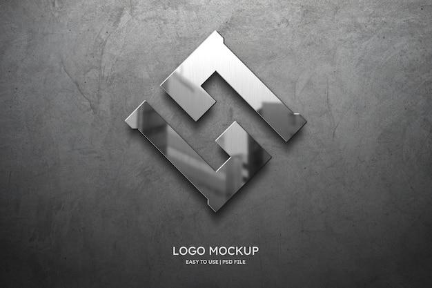 Logo mockup on grey wall