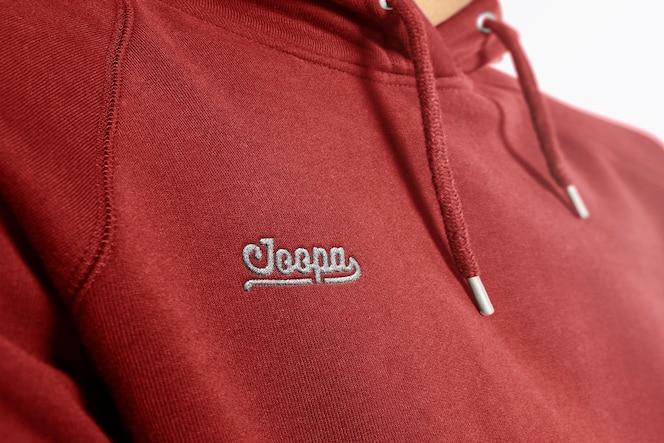 Logo mockup hoodie embroidered