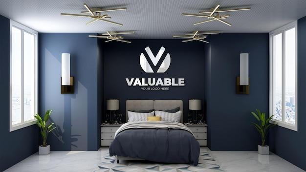 Макет логотипа в спальне роскошного отеля