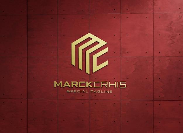 Макет логотипа в тисненом стиле