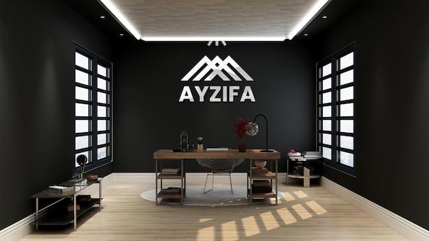 Макет логотипа в минималистском офисе