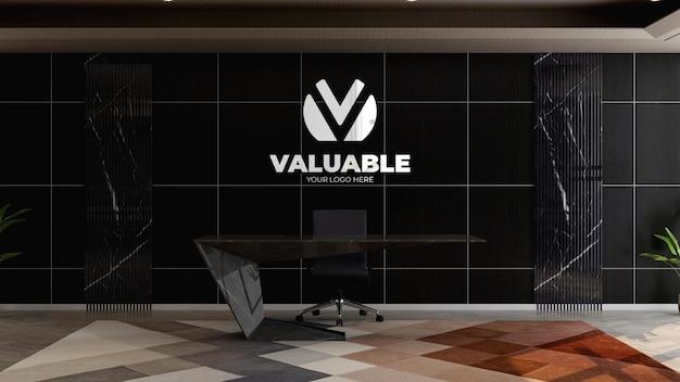 사무실 접수 데스크의 로고 모형
