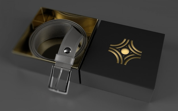 Logo mockup on leather belt package