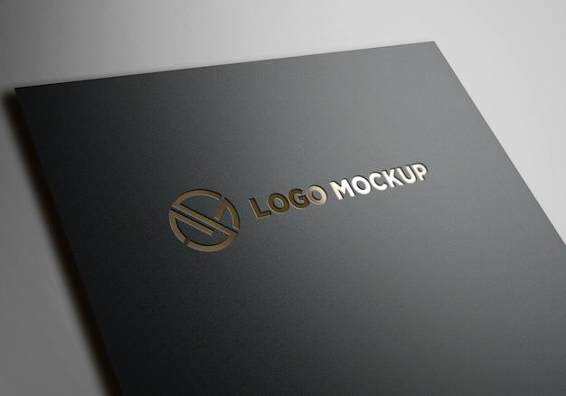 Кожаный макет логотипа premium golden effects