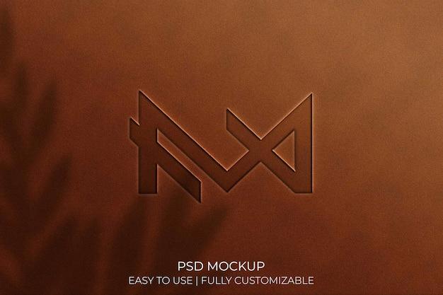 Logo mockup on leather