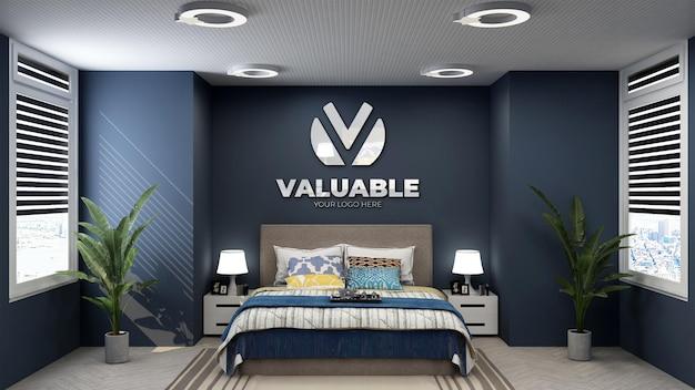 Logo mockup in a luxury hotel bedroom