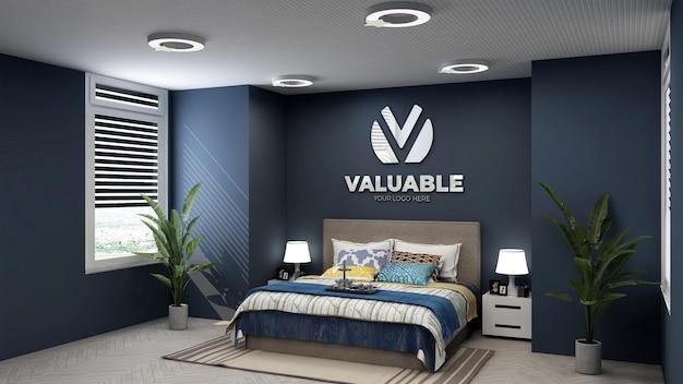 Logo mockup in luxury hotel bedroom