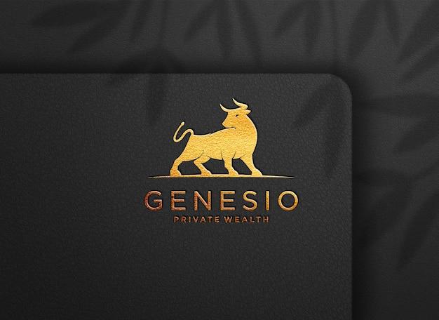 Logo mockup luxury stamp on textured leather