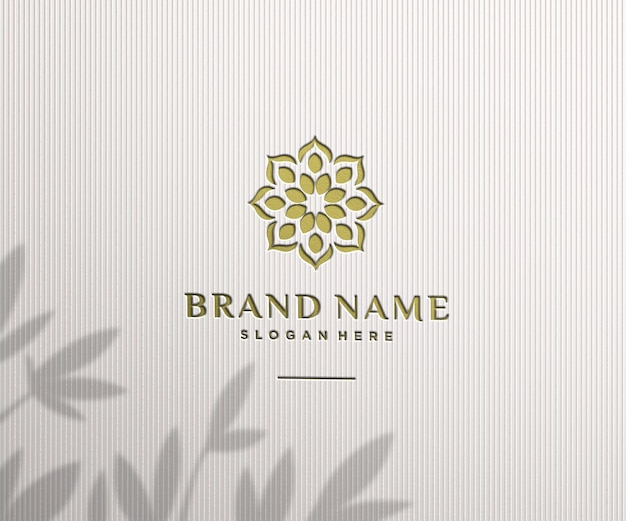 Logo mockup luxury stamp on the wall
