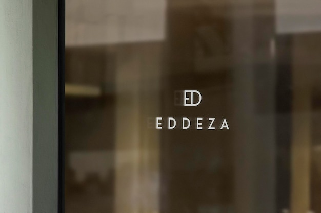 Logo mockup luxury window sign green wall