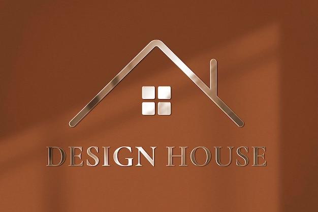 Logo mockup metal psd, wall realistic design