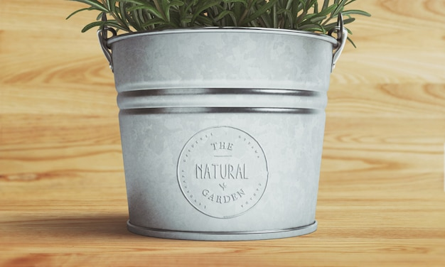 Logo mockup on metallic pot