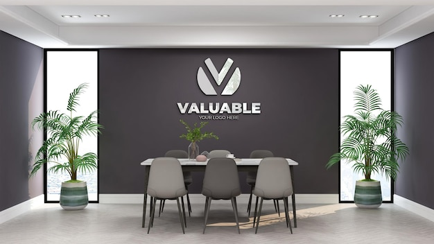 Logo mockup in the minimalist office meeting room