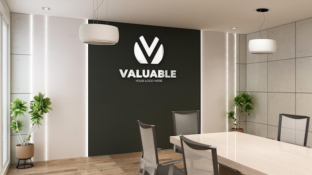 Logo mockup in a modern meeting room with industrial interior design