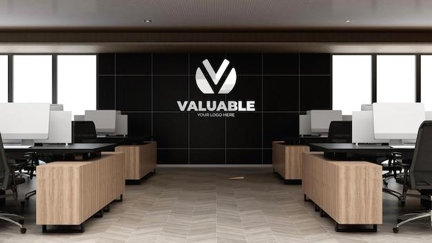 Logo mockup in the modern office workspace wall