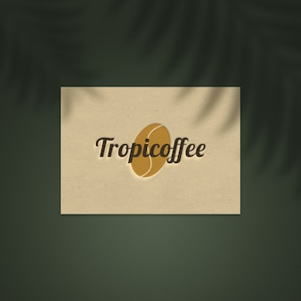 Logo mockup on natural paper business card