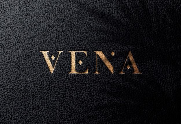 Logo mockup ob черная кожа