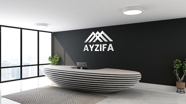 Логотип макет офиса черная стена приемная