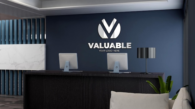 Logo mockup in the office receptionist with minimalist and elegant design interior