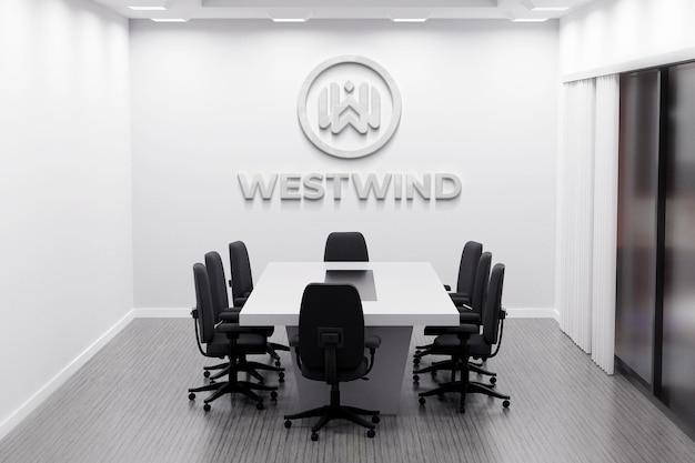 Logo mockup of office with white wall in meeting room