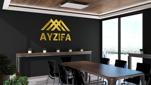 木製デザインのインテリアとロゴのモックアップオフィス
